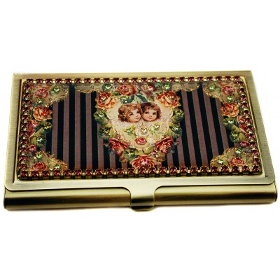Michal Negrin Striped Cherubs Business Card Case