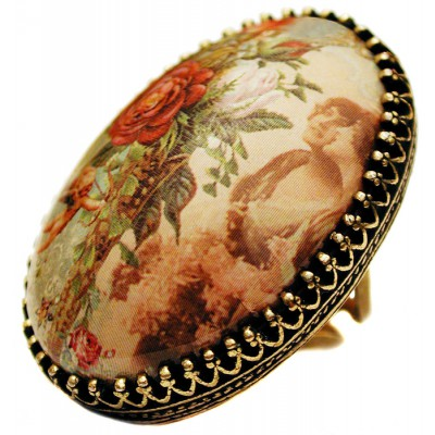 Michal Negrin Women Cabochon Cameo Ring