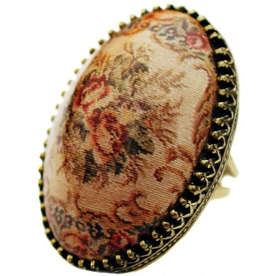Michal Negrin Roses Cabochon Cameo Ring