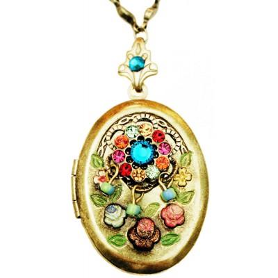 Michal Negrin Multicolor Crystals Oval Locket Necklace