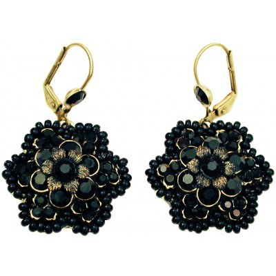 Michal Negrin Black Crystals Beaded Flower Earrings