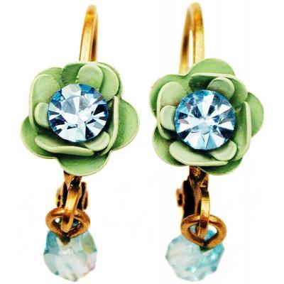Michal Negrin Aqua Green Rose Beads Earrings
