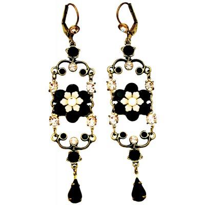 Michal Negrin Black Peach Iconic Chandelier Earrings