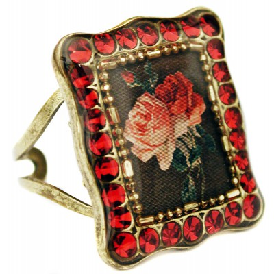 Michal Negrin Red Roses Rectangle Ring