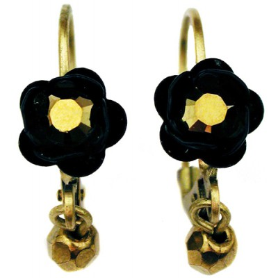 Michal Negrin Black Bronze Rose Beads Earrings
