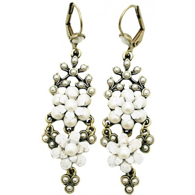 Michal Negrin Pearl White Chandelier Earrings