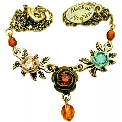 Michal Negrin Earth Tones Triple Rose Necklace
