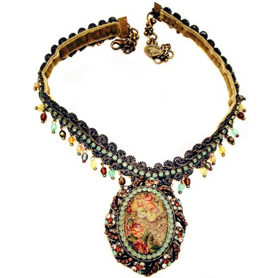 Michal Negrin Antique Roses Cameo Necklace