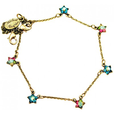 Michal Negrin Multicolor Sea Green Starflowers Anklet