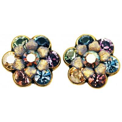 Michal Negrin Purple Grey Peach Crystal Flower Stud Earrings
