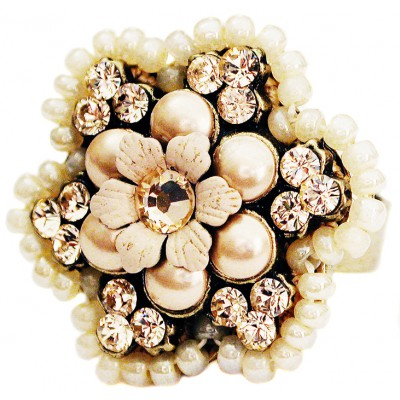 Michal Negrin Pearl Peach Beaded crystal Flower Ring