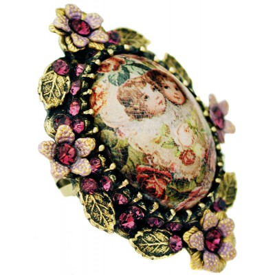 Michal Negrin Purple Cherubs Ornate Cabochon Cameo Ring