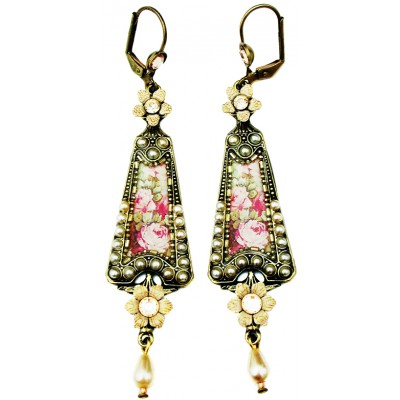 Michal Negrin Pearl Roses Triangle Earrings