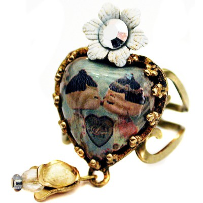 Michal Negrin Dolls Kiss Heart Ring