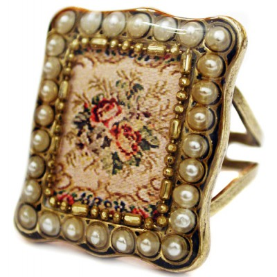 Michal Negrin Pearl Roses Rectangle Ring