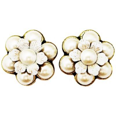 Michal Negrin Pearl Flower Stud Earrings