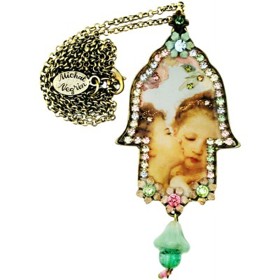 Michal Negrin Cherubs Kiss Large Hamsa Necklace