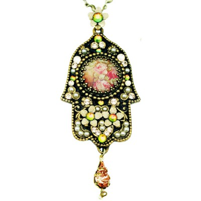 Michal Negrin Antique Roses Mosaic Hamsa Necklace