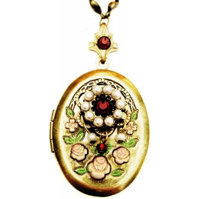 Michal Negrin Pearl Garnet Crystals Oval Locket Necklace