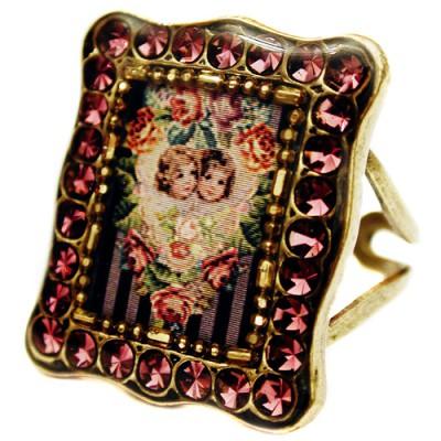 Michal Negrin Purple Cherubs Rectangle Ring