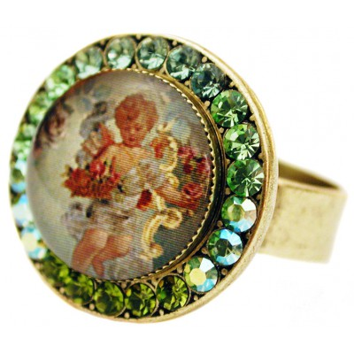 Michal Negrin Green Cherub Round Cameo Crystal Ring