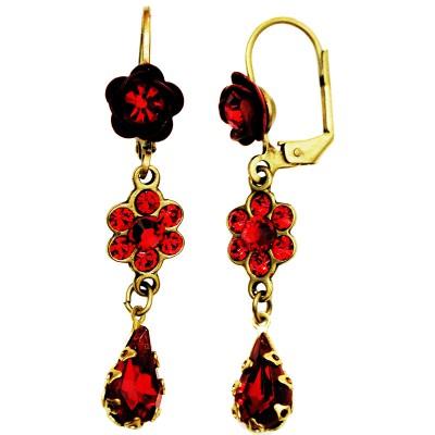 Michal Negrin Red Rose Teardrop Earrings