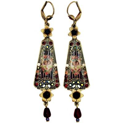 Michal Negrin Antique Cherubs Triangle Earrings