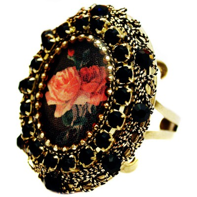 Michal Negrin Black Roses Locket Ring