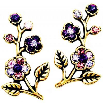 Michal Negrin Purple Cherry Blossom Stud Earrings