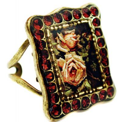 Michal Negrin Garnet Roses Rectangle Ring