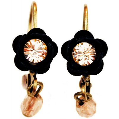 Michal Negrin Black Peach Rose Beads Earrings