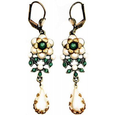 Michal Negrin Pearl Green Teardrop Earrings