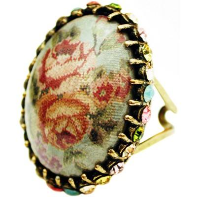Michal Negrin Patsel Roses Crystal Cabochon Cameo Ring