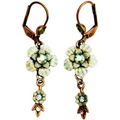 Michal Negrin Antique Green Vintage Flower Earrings