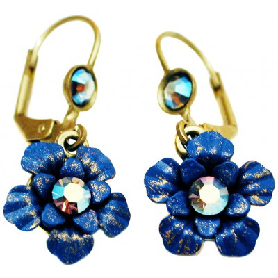 Michal Negrin Blue Aurora Borealis Flower Earrings