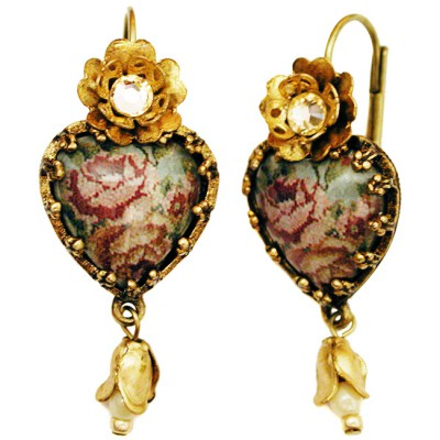 Michal Negrin Antique Roses Cabochon Heart Earrings