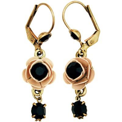 Michal Negrin Black Cream Rose Crystal Earrings