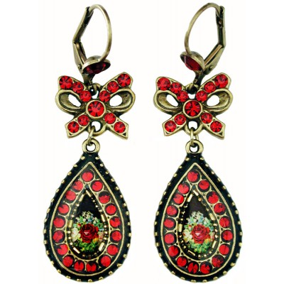Michal Negrin Red Rose Cameo Bow Earrings