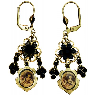 Michal Negrin Black Sepia Girl Cameo Earrings