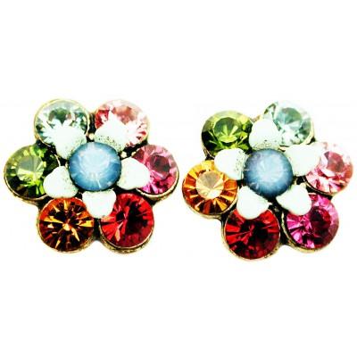 Michal Negrin Multicolor Icy Blue Crystal Flower Stud Earrings