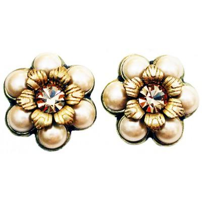 Michal Negrin Pearl Gold Crystal Flower Stud Earrings