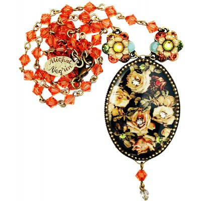 Michal Negrin Autumn Roses Cameo Necklace