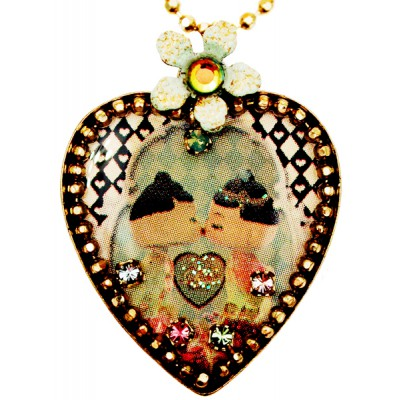 Michal Negrin Dolls Kiss Heart Necklace