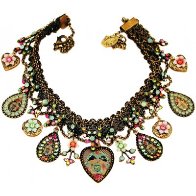 Michal Negrin Dolls Kiss Multicolor Hearts Lockets Necklace