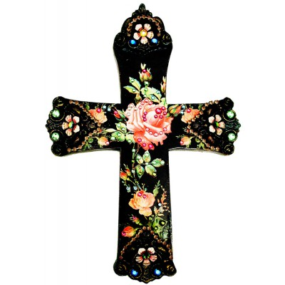 Michal Negrin Antique Rose Wall Decor Large Cross