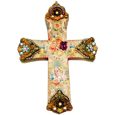 Michal Negrin Baroque Roses Wall Decor Large Cross