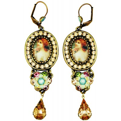 Michal Negrin Victorian Woman Crystal Drop Earrings