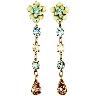 Michal Negrin Green Lilac Peach Post Earrings