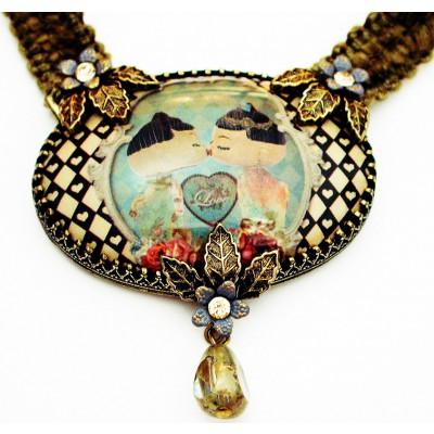 Michal Negrin Dolls Kiss Cameo Khaki Velvet Necklace