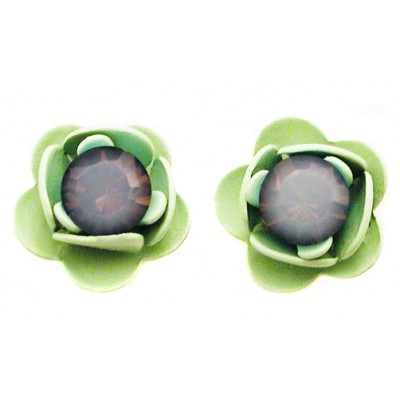 Michal Negrin Icy Blue Green Rose Stud Earrings